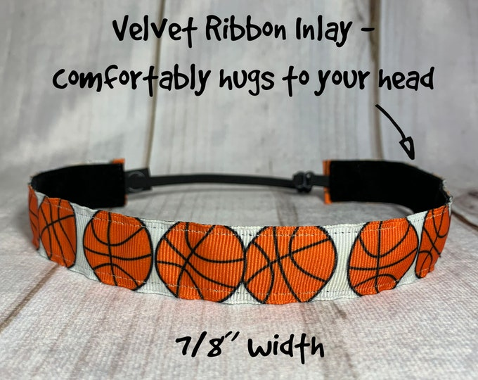"7/8"" BASKETBALL Headband / Gift for Basketball Player / Workout / Adjustable Nonslip Headband / Button Headband Option by Busy Bee Headbands"