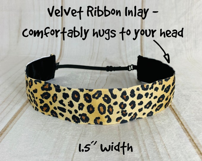 "1.5"" CHEETAH Headband / LEOPARD Headband / Adjustable Nonslip Headband / Button Headband Option by Busy Bee Headbands"