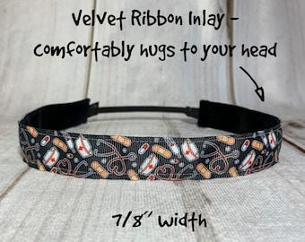 "7/8"" HEALTHCARE HERO Headband / Nurse Doctor Headband / Adjustable Nonslip Headband / Button Headband Option by Busy Bee Headbands"