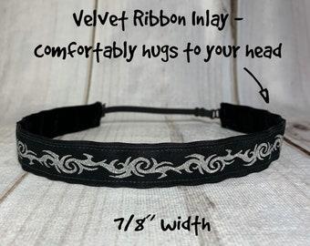 "7/8"" Black & Silver Tattoo Headband / Fitness Workout Running CrossFit Headband / Adjustable Nonslip Headband / Button Option"