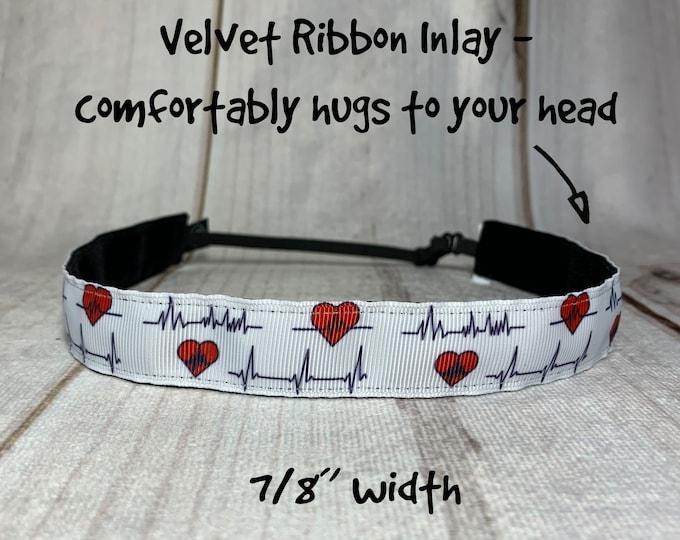 "7/8"" HEARTBEAT Headband / Healthcare Hero Nurse Doctor Headband / Adjustable Nonslip Headband / Button Headband Option by Busy Bee Headbands"