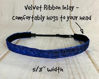 "3/8"" or 5/8"" BLUE SPARKLE Headband / Glitter Headband / Workout Fitness / Adjustable Nonslip Headband / Button Headband Option by Busy Bee"