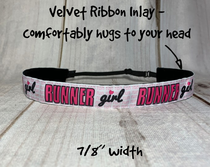 "7/8"" LOVE TO RUN Headband / Gift for Runner / Adjustable Nonslip Headband / Button Headband Option by Busy Bee Headbands"