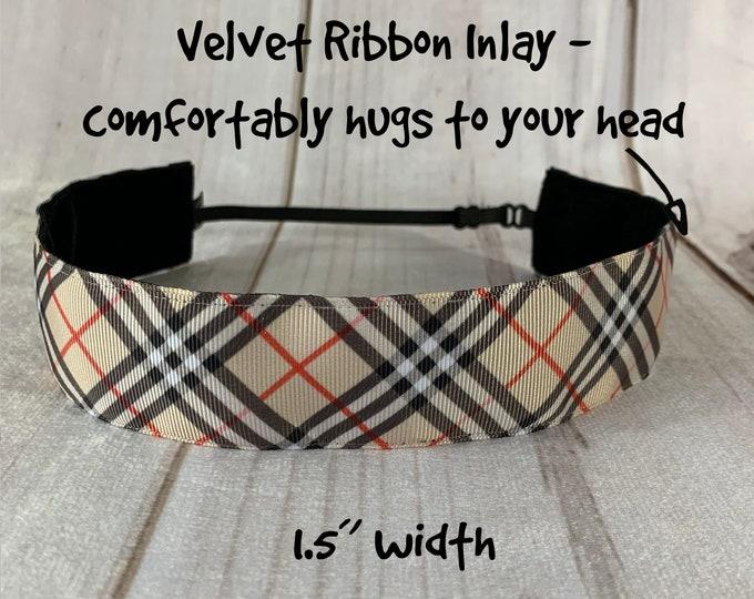 "1.5"" Black Red Tan STRIPE Headband / Adjustable Nonslip Headband / Fashion Stylish Headband / Button Headband Option by Busy Bee Headbands"
