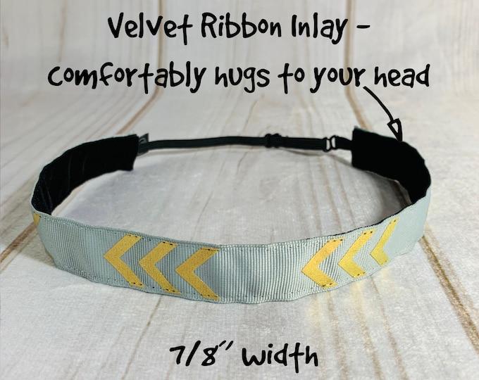 "7/8"" GRAY & GOLD CHEVRON Headband / Adjustable Nonslip Headband / Button Headband Option by Busy Bee Headbands"