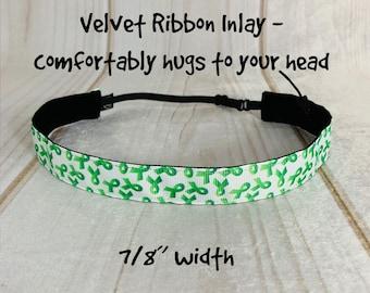 "7/8"" GREEN RIBBON Headband / Leukemia Kidney Cancer Awareness / Adjustable Nonslip Headband / Button Headband Option by Busy Bee Headbands"