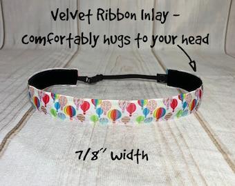 "7/8"" HOT AIR BALLOONS Headband / Gift for Hot Air Balloon Crew / Adjustable Nonslip Headband / Button Headband Option by Busy Bee Headbands"