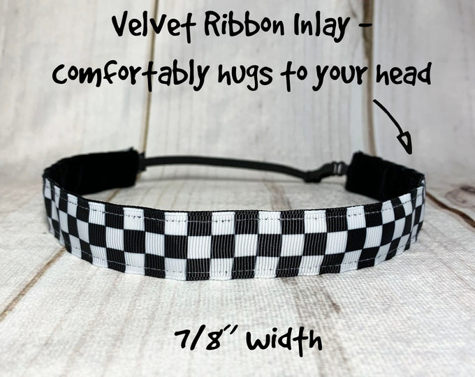 """7/8"""" & 1.5"""" CHECKERED Headband / Formula 1 Car Racing CHECKED / Nonslip Adjustable with Side Button Option for Mask by Busy Bee Headbands"""