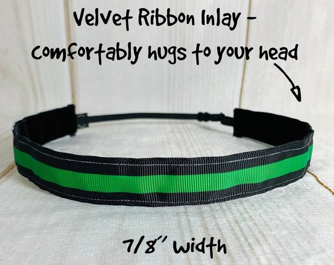 "7/8"" THIN GREEN LINE Headband / Sheriff Headband / Adjustable Nonslip Headband / Button Headband Option by Busy Bee Headbands"