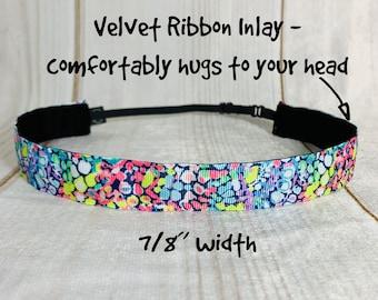 "7/8"" GYPSY JUNGLE Lilly Inspired Floral Headband / Adjustable Nonslip Headband / Button Headband Option by Busy Bee Headbands"