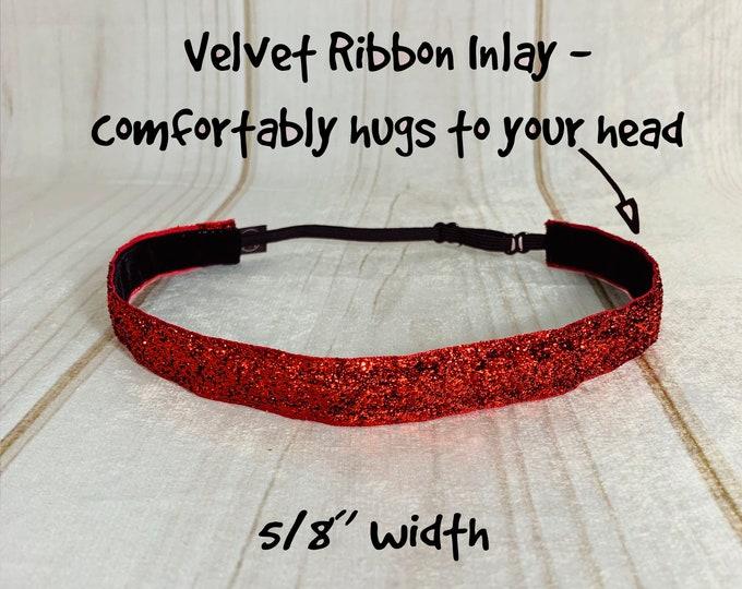 "3/8"" or 5/8"" RED SPARKLE Headband / Glitter Headband / Adjustable Nonslip Headband / Button Headband Option by Busy Bee Headbands"