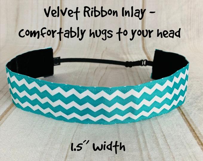 "1.5"" TEAL CHEVRON Headband / Adjustable Nonslip Headband / Button Headband Option by Busy Bee Headbands"