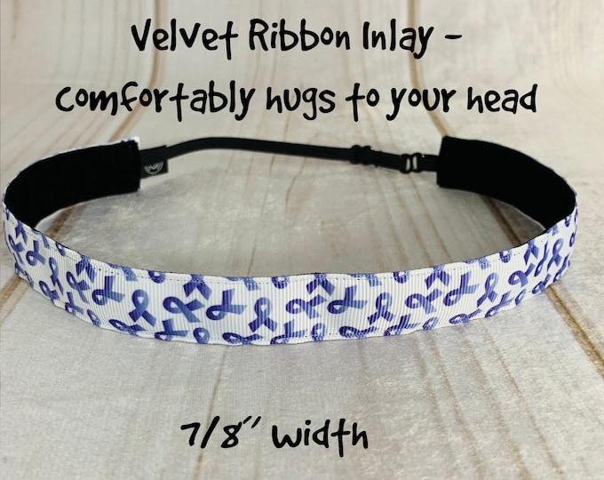 "7/8"" PURPLE RIBBON Headband / Cancer Awareness Headband / Adjustable Nonslip Headband / Button Headband Option by Busy Bee Headbands"