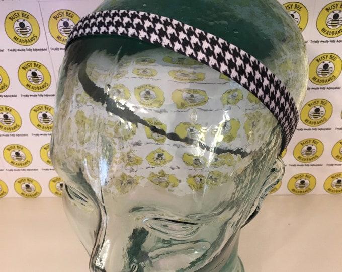 "HOUNDSTOOTH  (5/8"" width) Adjustable Nonslip Headband / Busy Bee Headbands / Fits 2 yrs to Adult / Athletic busybeeheadbands.com"