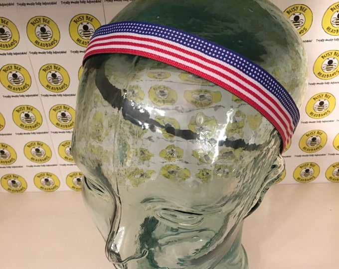 """Free Shipping! PATRIOTIC USA FLAG  (7/8"""" width) Adjustable Nonslip Headband / Busy Bee Headbands / Fits 2 yrs to Adult / Athletic"""