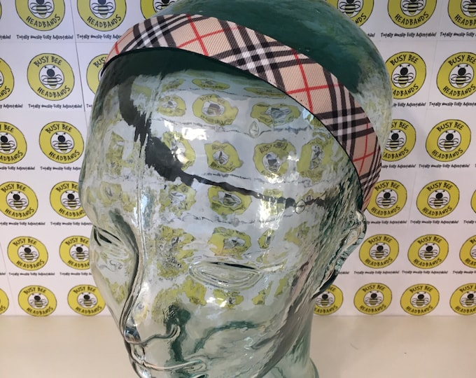"BURBERRY  (7/8"" width) Adjustable Nonslip Headband / Busy Bee Headbands / Fits 2 yrs to Adult / Athletic busybeeheadbands.com"