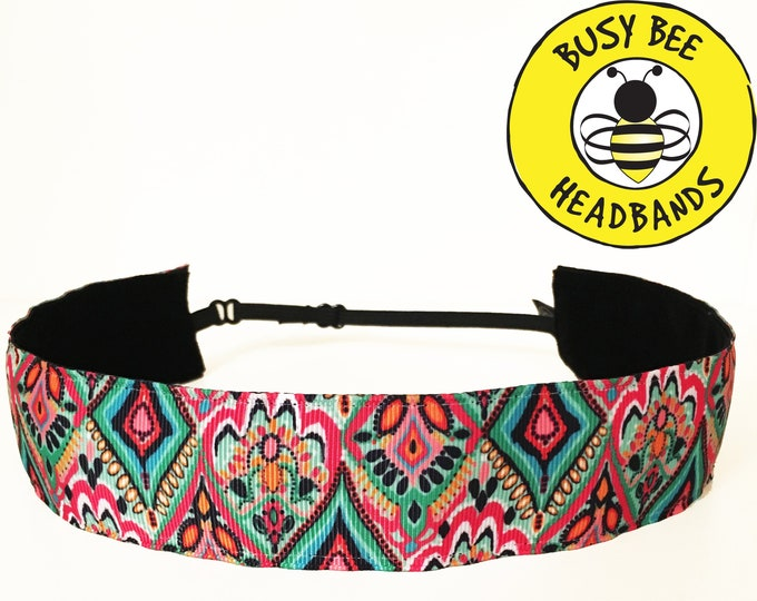 "Free Shipping! Lilly Inspired MEDALLION JEWEL  (1.5"" width) Busy Bee Headbands Adjustable Non-Slip Headband for Women Girls"