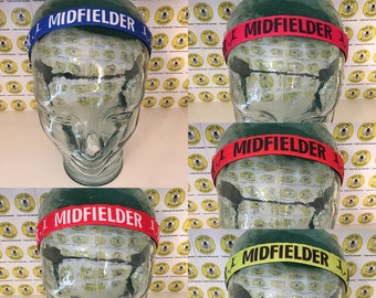 "SOCCER MIDFIELDER  (7/8"" width) Adjustable Nonslip Headband / Busy Bee Headbands / Fits 2 yrs to Adult / Athletic"