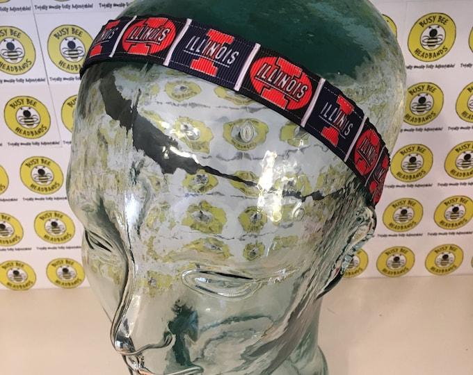 "Free Shipping! ILLINOIS UNIVERSITY (7/8"" width) Busy Bee Headbands Adjustable Non-Slip Headband for Women and Girls Athletic"