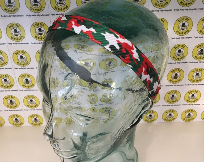"""Free Shipping! CAMOFLAUGE  (7/8"""" width) Adjustable Nonslip Headband / Busy Bee Headbands / Fits 2 yrs to Adult / Athletic"""