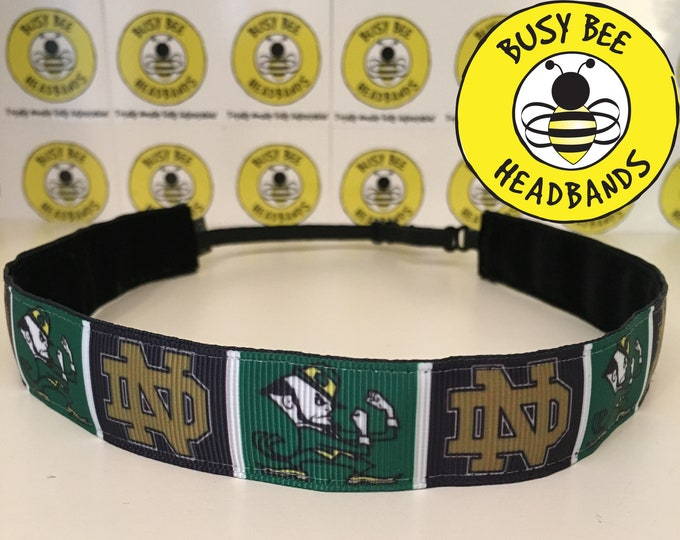 """Free Shipping! NOTRE DAME UNIVERSITY (7/8"""" width) Adjustable Nonslip Headband / Busy Bee Headbands / Fits 2 yrs to Adult / Athletic"""