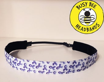 "PURPLE RIBBON Adjustable Nonslip Headband (7/8"" width)  / pancreatic cancer warrior / for women and girls"