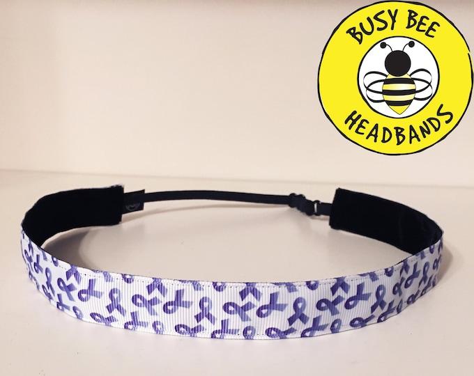 "Free Shipping! PURPLE RIBBON Adjustable Nonslip Headband (7/8"" width)  / pancreatic cancer warrior / for women and girls"