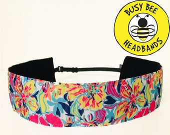 "Lilly Inspired BESAME MUCHO  (1.5"" width) Adjustable Nonslip Headband / Busy Bee Headbands / Fits 2 yrs to Adult / Athletic"