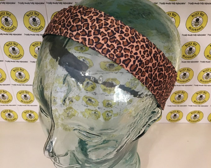 """Free Shipping! CHEETAH LEOPARD Animal Print (1.5"""" width) Adjustable Nonslip Headband / Busy Bee Headbands / Fits 2 yrs to Adult / Athletic"""