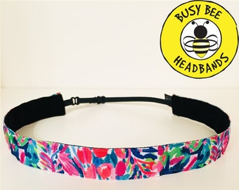 "Lilly Pulitzer Inspired GUMBO (7/8"" width) Adjustable Nonslip Headband / Busy Bee Headbands / Fits 2 yrs to Adult / Athletic"