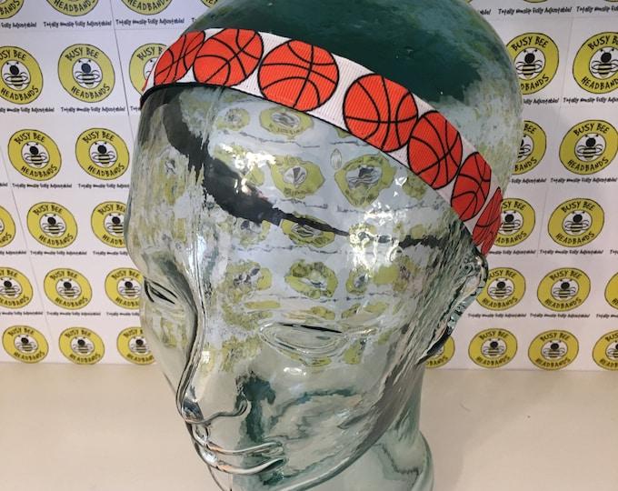"Free Shipping! BASKETBALL  (7/8"" width) Busy Bee Headbands Adjustable Non-Slip Headband for Women and Girls Athletic busybeeheadbands.com"