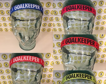 "SOCCER Goalie GOALKEEPER  (7/8"" width) Adjustable Nonslip Headband / Busy Bee Headbands / Fits 2 yrs to Adult / Athletic"