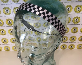 "Free Shipping! INDY 500 CHECKERED FLAGS  (7/8"" width) Busy Bee Headbands Adjustable Non-Slip Headband for Women and Girls Athletic"