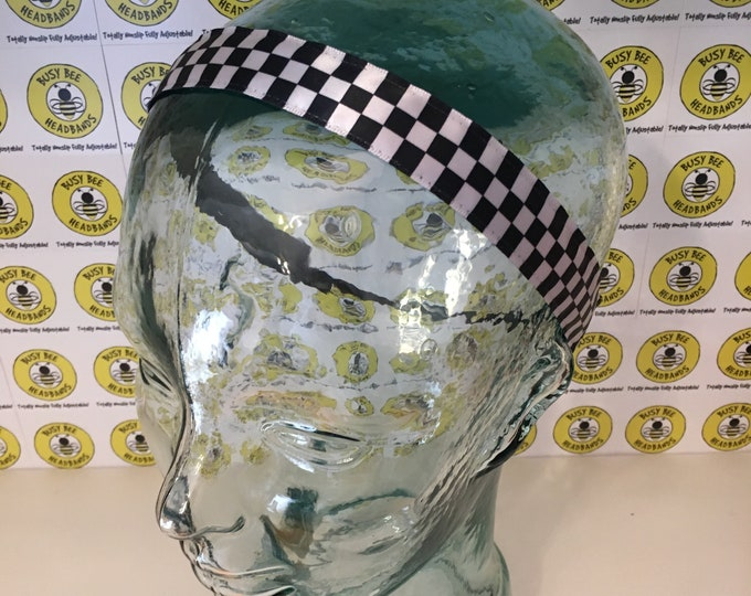 """Free Shipping! INDY 500 CHECKERED FLAGS  (7/8"""" width) Busy Bee Headbands Adjustable Non-Slip Headband for Women and Girls Athletic"""