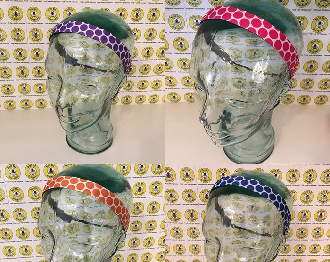 """Free Shipping! BIG DOTS (7/8"""" width) Adjustable Nonslip Headband / Busy Bee Headbands / Fits 2 yrs to Adult / Athletic"""