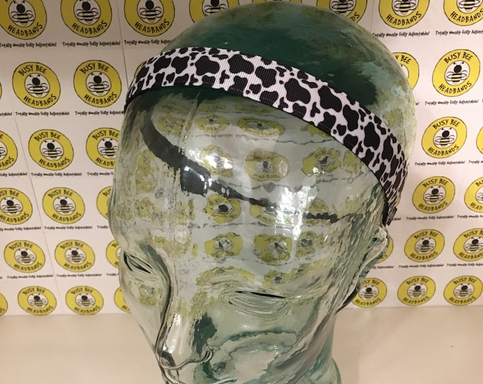 """Free Shipping! COW ANIMAL PRINT  (7/8"""" width) Adjustable Nonslip Headband / Busy Bee Headbands / Fits 2 yrs to Adult / Athletic"""