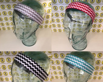 "CHEVRONS  (1.5"" width) Grey Red Black Teal Adjustable Nonslip Headband / Busy Bee Headbands / Fits 2 yrs to Adult / Athletic"