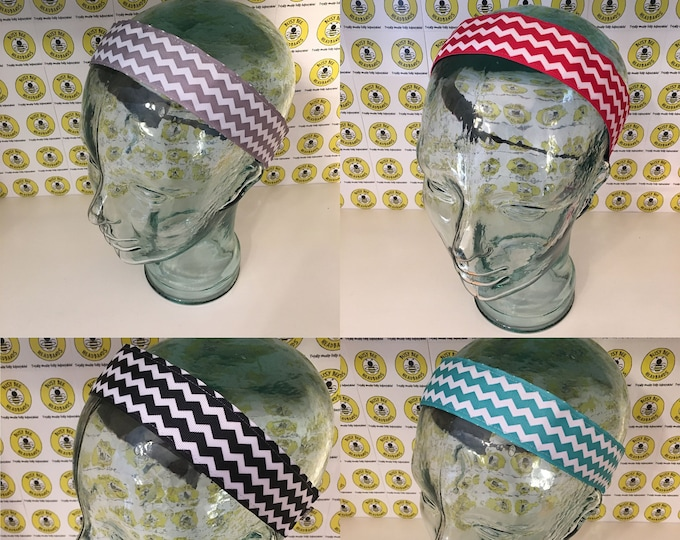 """Free Shipping! CHEVRONS  (1.5"""" width) Grey Red Black Teal Busy Bee Headbands Adjustable Non-Slip Headband for Women and Girls Athletic"""