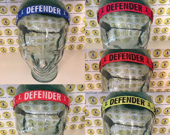 "Free Shipping! SOCCER DEFENDER  (7/8"" width) Adjustable Nonslip Headband / Busy Bee Headbands / Fits 2 yrs to Adult / Athletic"