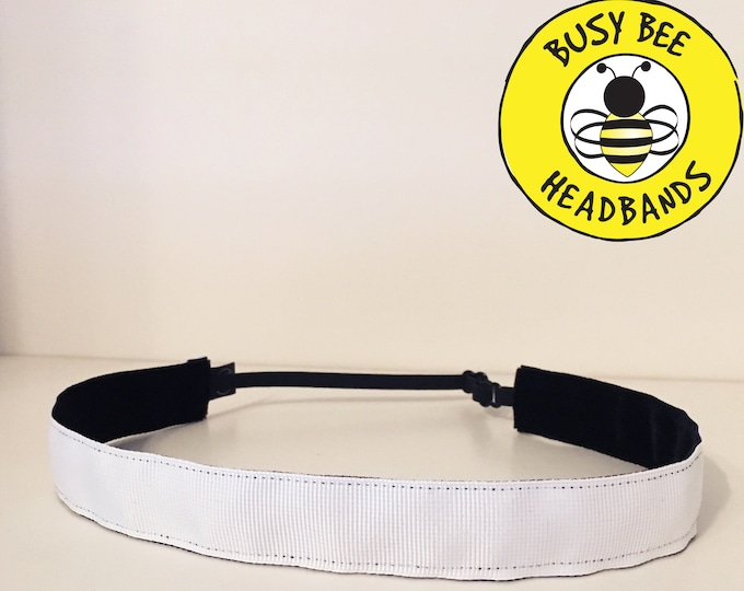 "Free Shipping! SOLID WHITE  (7/8"" width) Adjustable Nonslip Headband / Busy Bee Headbands / Fits 2 yrs to Adult / Athletic"