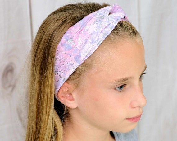 Pink Metallic Twisted Turban Headband Boho Head Wrap 'UNICORN MAGIC' Athletic & Fashion One Size Fits Most by Busy Bee Headbands