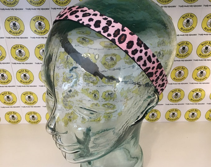 """Free Shipping! PINK CHEETAH (7/8"""" width) Adjustable Nonslip Headband / Busy Bee Headbands / Fits 2 yrs to Adult / Athletic"""
