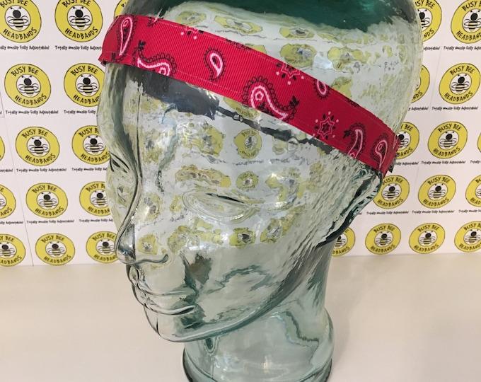 "RED Paisley  (7/8"" width) Adjustable Nonslip Headband / Busy Bee Headbands / Fits 2 yrs to Adult / Athletic busybeeheadbands.com"