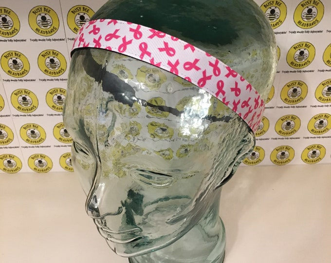 """Free Shipping! PINK RIBBON AWARENESS  (7/8"""" width) Adjustable Nonslip Headband / Busy Bee Headbands / Fits 2 yrs to Adult / Athletic"""
