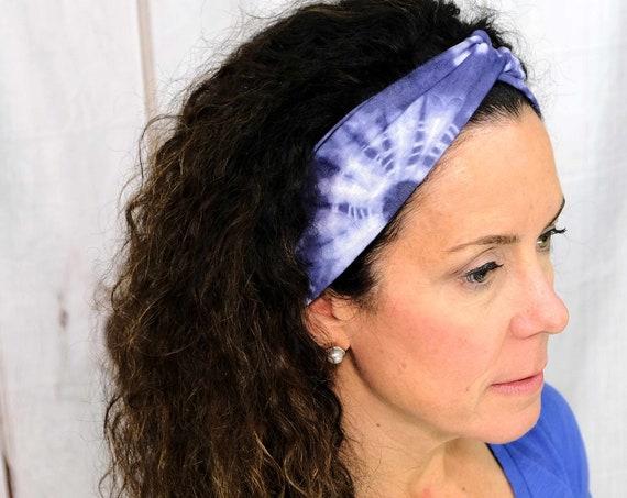 Blue Tie Dye Twisted Turban Headband Boho Head Wrap 'NAMASTE' Athletic & Fashion One Size Fits Most by Busy Bee Headbands