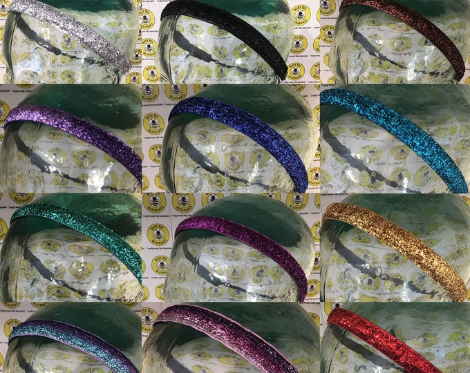 """Free Shipping! SPARKLE BLING (5/8"""") Adjustable Nonslip Headband / Fits 2 yrs to Adult / Athletic / Busy Bee Headbands"""
