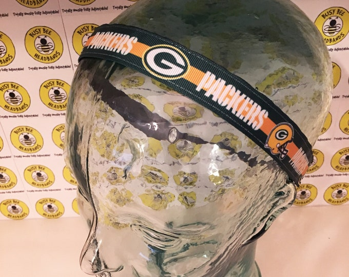 """Free Shipping! GREEN BAY PACKERS Football (7/8"""" width) Busy Bee Headbands Adjustable Non-Slip Headband for Women and Girls Athletic"""