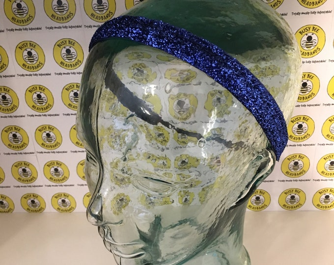 """Free Shipping! BLUE SPARKLE  (3/8"""" & 5/8"""" widths) Adjustable Nonslip Headband / Busy Bee Headbands / Fits 2 yrs to Adult / Athletic"""