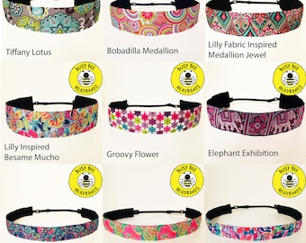 LILLY PULITZER Inspired & MORE! Adjustable Nonslip Headband / Busy Bee Headbands / Fits 2 yrs to Adult / Athletic
