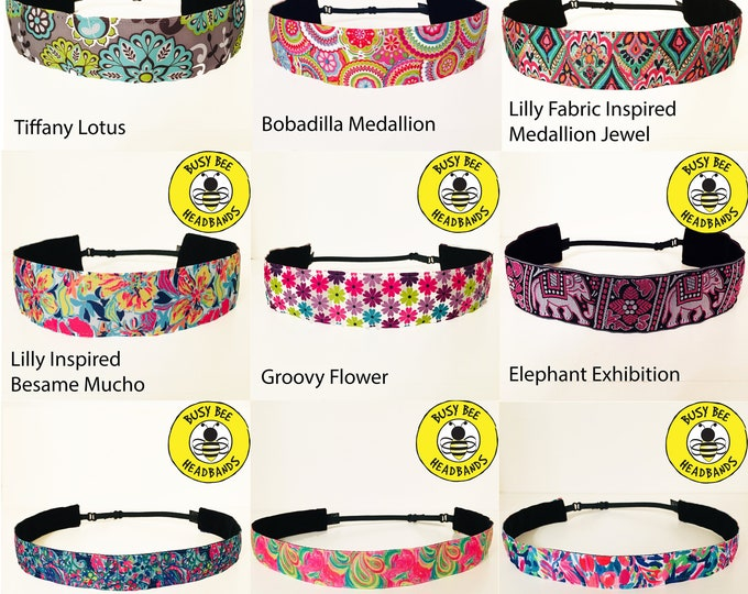 Free Shipping! LILLY PULITZER Inspired & MORE! Adjustable Nonslip Headband / Busy Bee Headbands / Fits 2 yrs to Adult / Athletic